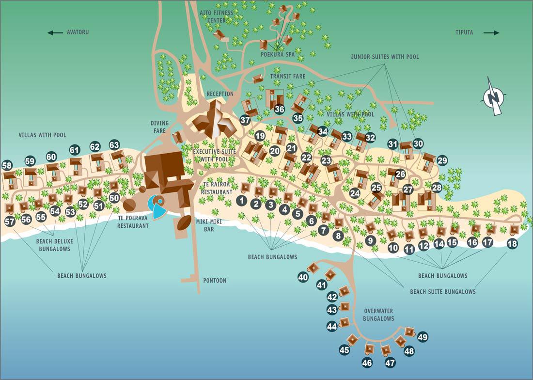 Hotel kia ora resort spa rangiroa pacific for less resort map sciox Choice Image